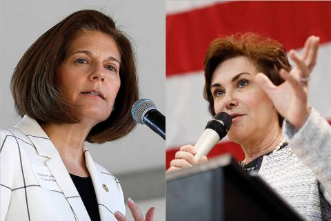 Catherine Cortez Masto, right, and Jacky Rosen are forming a bipartisan commission to vet poten ...