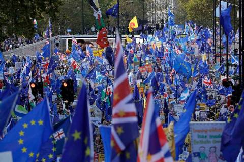 "Anti-Brexit remain in the European Union supporters take part in a ""People's Vote"" pr ..."