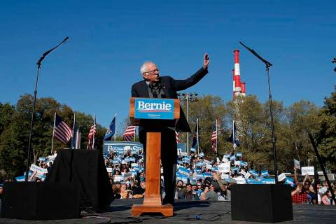 Democratic presidential candidate Sen. Bernie Sanders, I-Vt., speaks to supporters during a cam ...