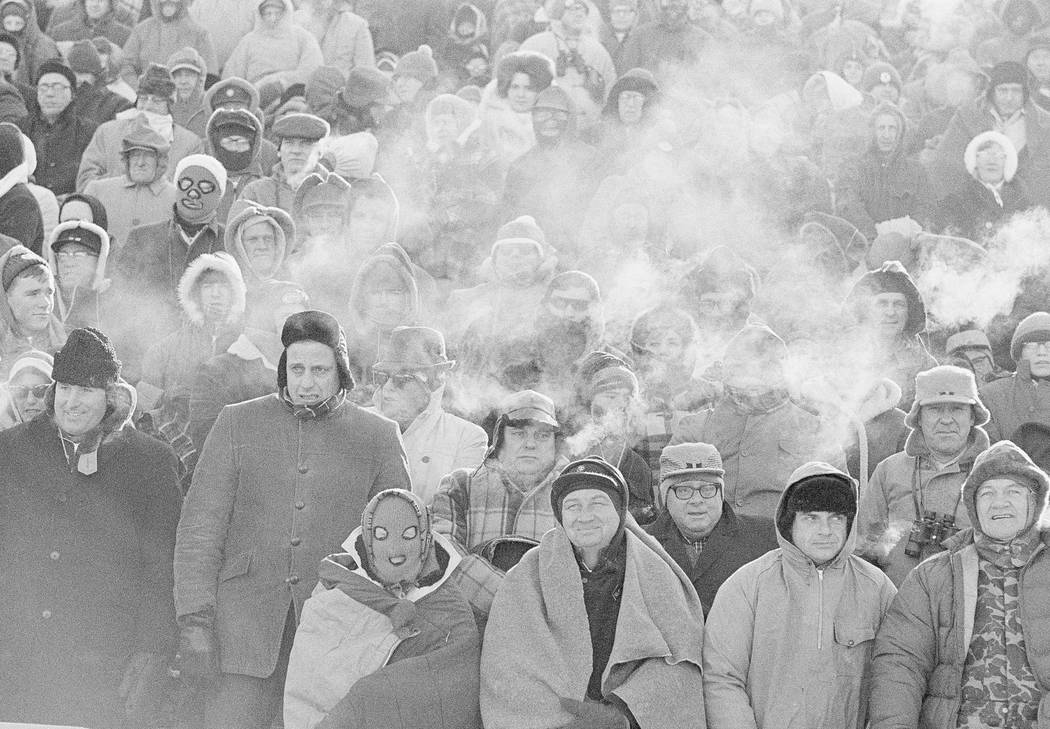 With temperature standing at 14 degrees below zero, the breath of spectators turns to steam as ...