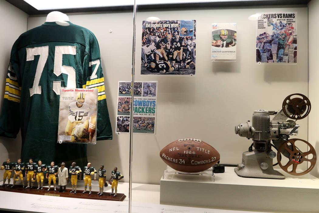 Green Bay Packer memorabilia at Lambeau Field in Green Bay, Wis., Friday, Oct. 18, 2019. (Heidi ...