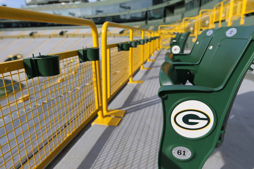 Packer logos are visible throughout Lambeau Field in Green Bay, Wis., Friday, Oct. 18, 2019. (H ...