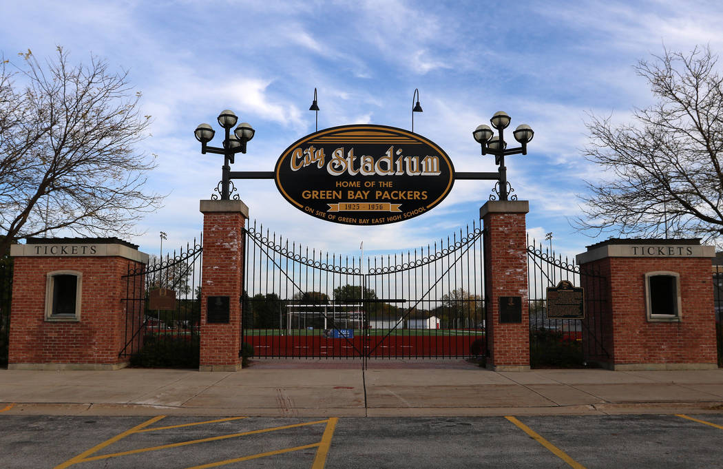 The outside gate of City Stadium, where the Green Bay Packers played football from 1925-1956, n ...