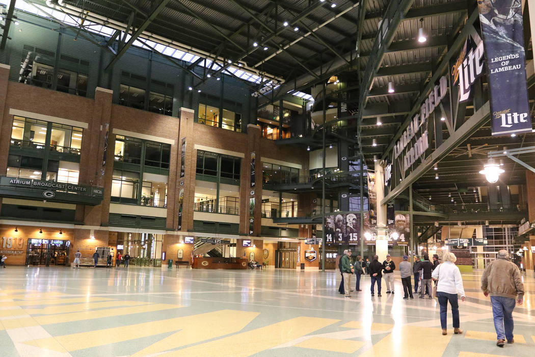 Guests explore the Lambeau Field Atrium concourse at Lambeau Field, home of the Green Bay Packe ...