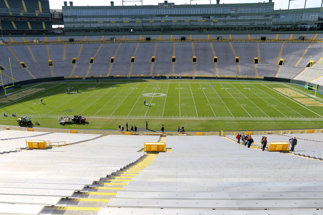 Lambeau Field, home of the Green Bay Packers, in Green Bay, Wis., on Friday, Oct. 18, 2019. (He ...
