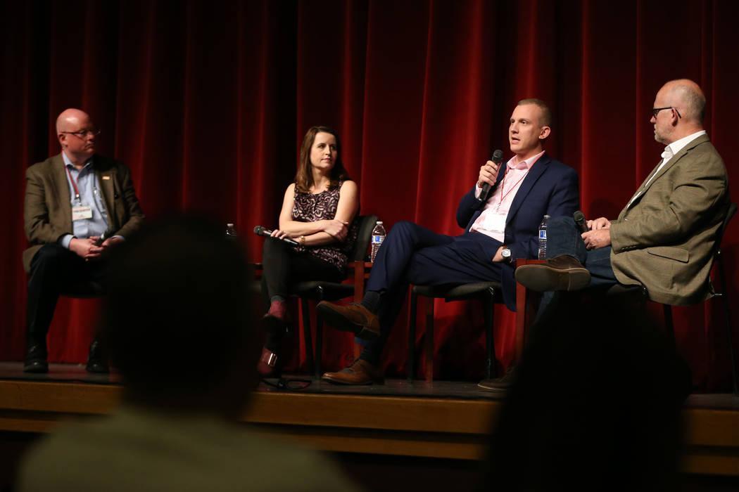 Las Vegas Review-Journal reporter and moderator Steve Sebelius, left, panelists Christina Bella ...