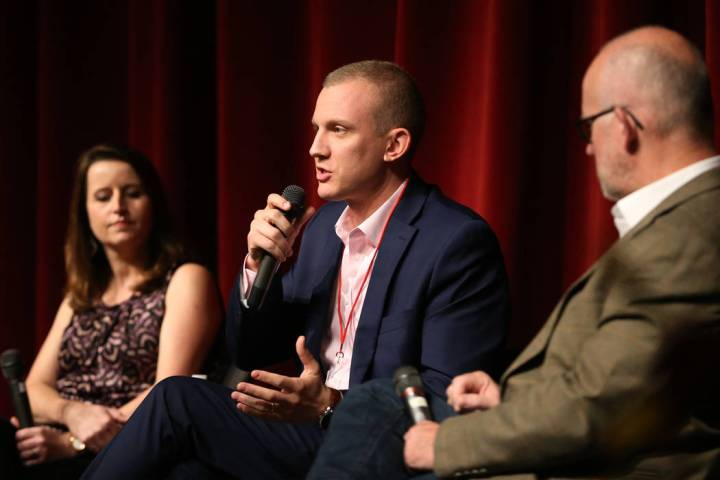Panelists Tim Alberta, center, with Christina Bellantoni, left, and Rick Wilson, speaks during ...