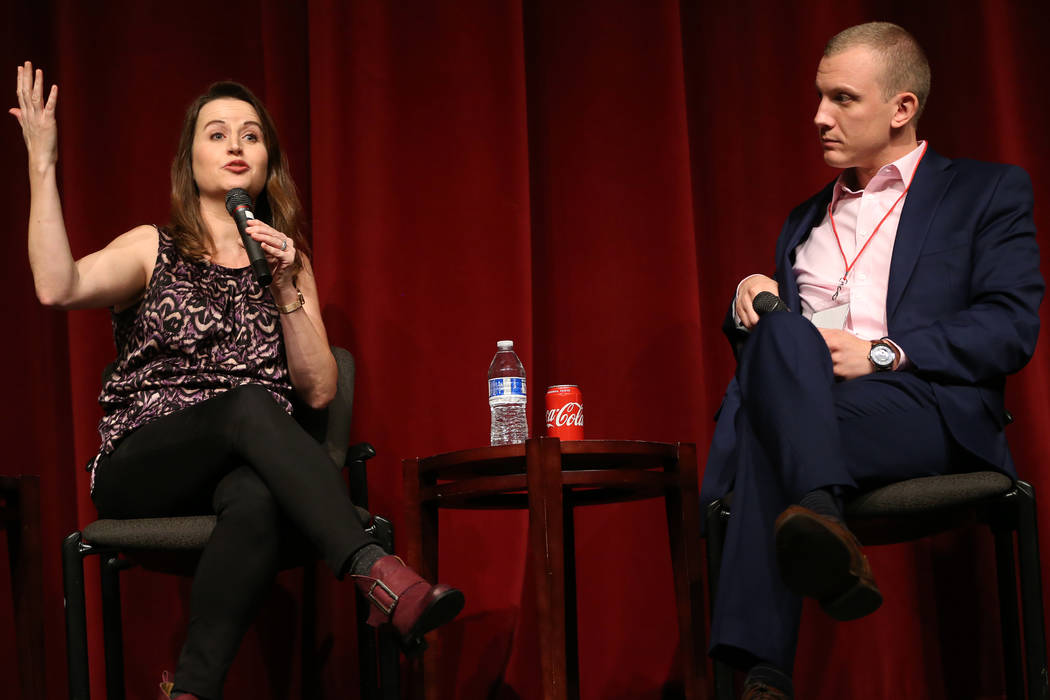 Tim Alberta, right, listens to fellow panelist Christina Bellantoni speak during a panel discus ...