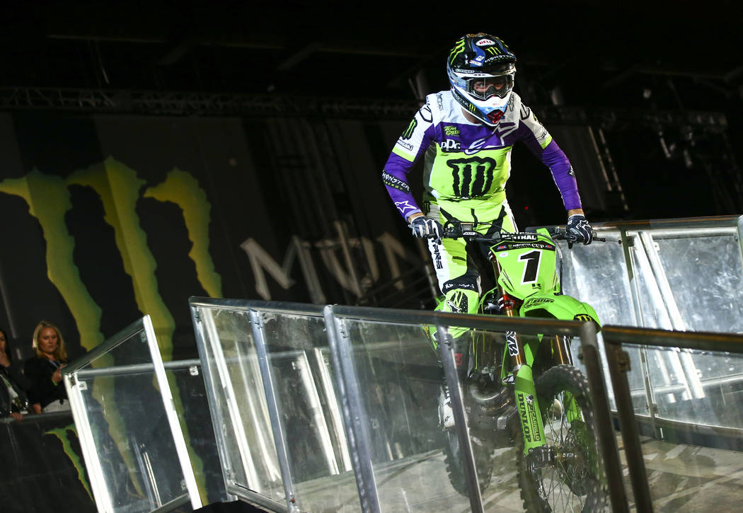 Eli Tomac (1) is introduced during the opening ceremony of the Monster Energy Cup Supercross ma ...