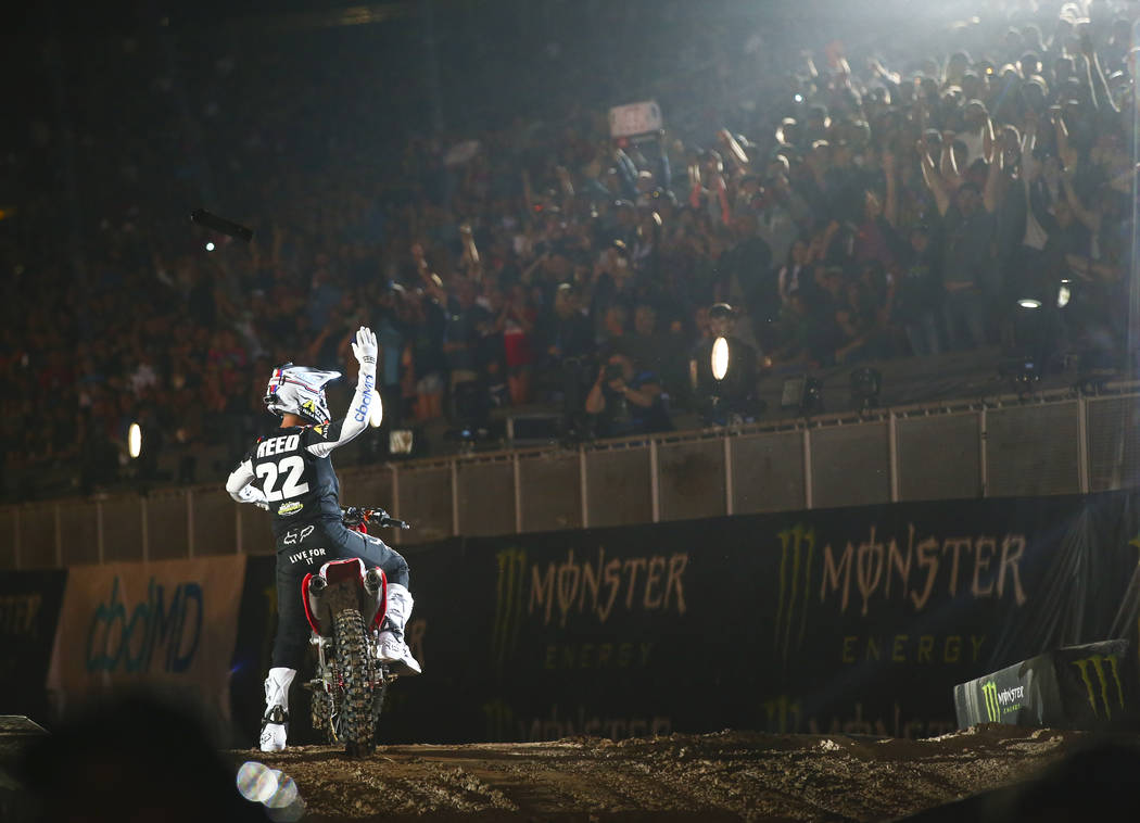Chad Reed (22) motions to the crowd while being introduced during the opening ceremony of the M ...