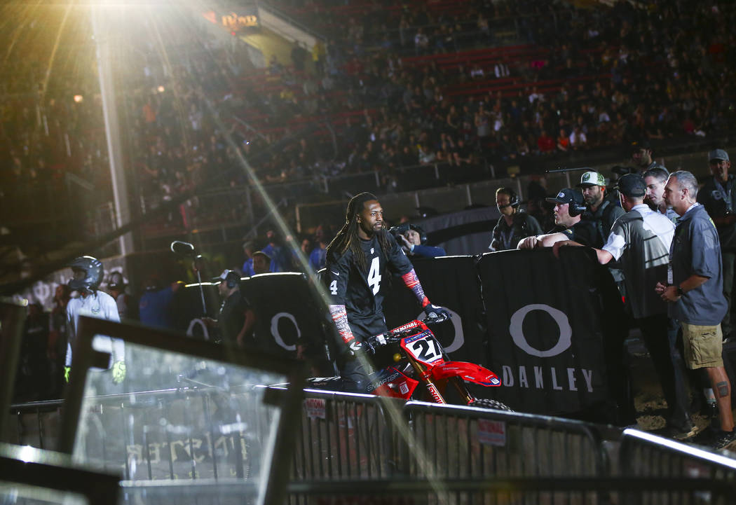 Malcolm Stewart (27) is introduced during the opening ceremony of the Monster Energy Cup Superc ...