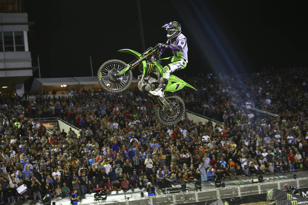 Eli Tomac (1) competes during the first round of the Monster Energy Cup Supercross main event a ...