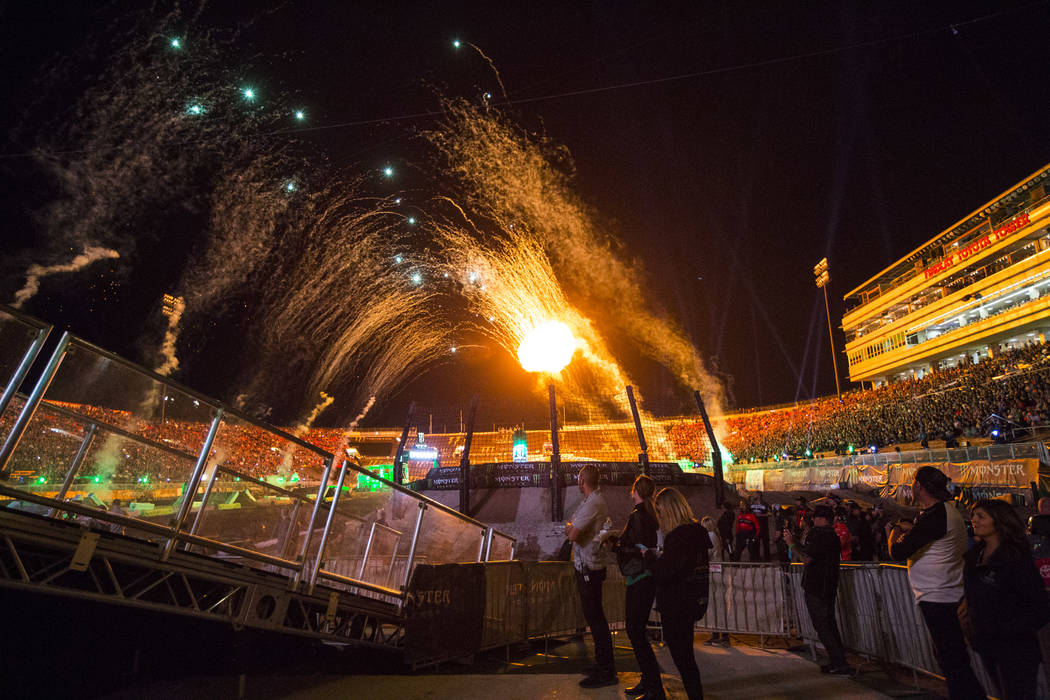Fireworks go off during the opening ceremony of the Monster Energy Cup Supercross main event at ...