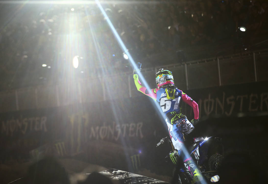 Justin Barcia (51) is introduced during the opening ceremony of the Monster Energy Cup Supercro ...