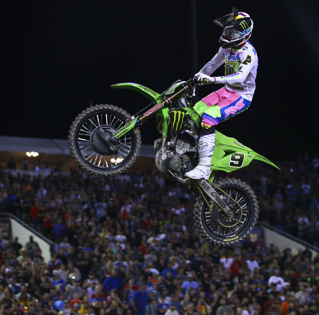 Adam Cianciarulo (9) competes during the first round of the Monster Energy Cup Supercross main ...