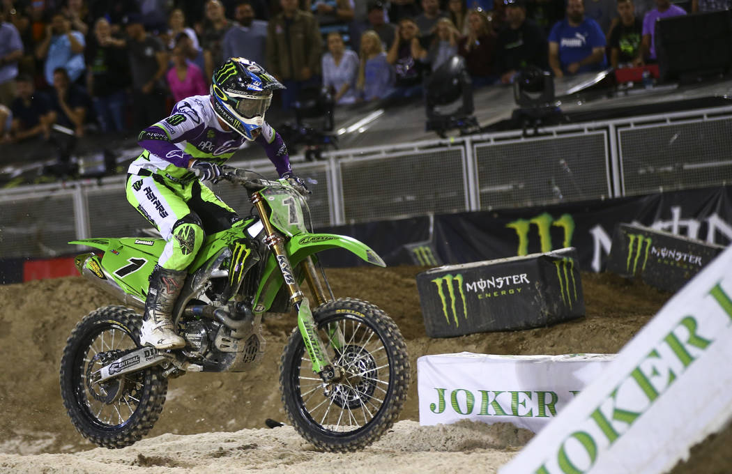 Eli Tomac (1) makes his joker lane lap during the first round of the Monster Energy Cup Supercr ...
