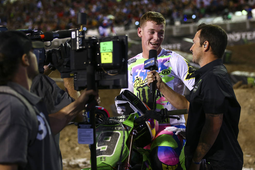 Adam Cianciarulo is interviewed after the first round of the Monster Energy Cup Supercross main ...