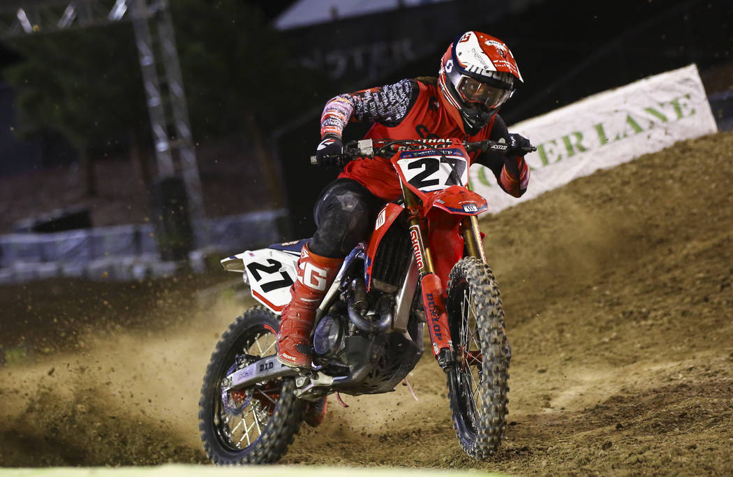 Malcolm Stewart (27) comes out of the joker lane during the second round of the Monster Energy ...