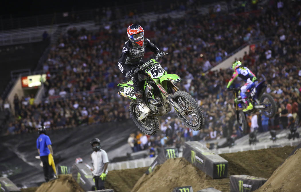 Justin Starling (56) competes during the second round of the Monster Energy Cup Supercross main ...