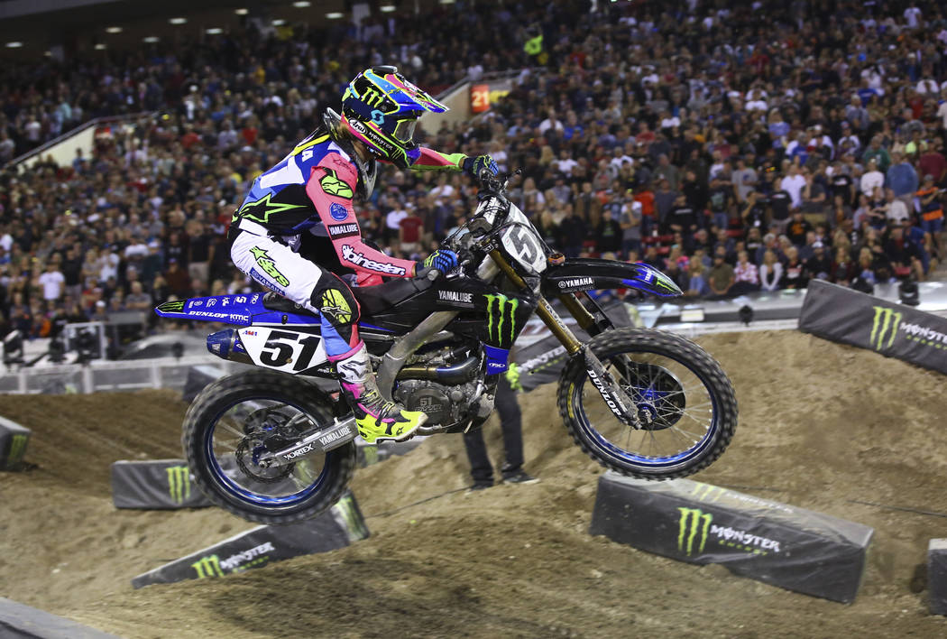 Justin Barcia (51) competes during the second round of the Monster Energy Cup Supercross main e ...