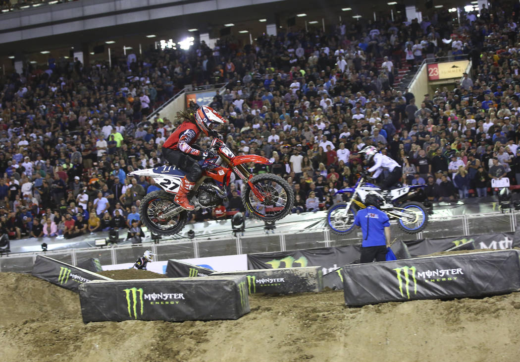 Malcolm Stewart (27) competes during the second round of the Monster Energy Cup Supercross main ...