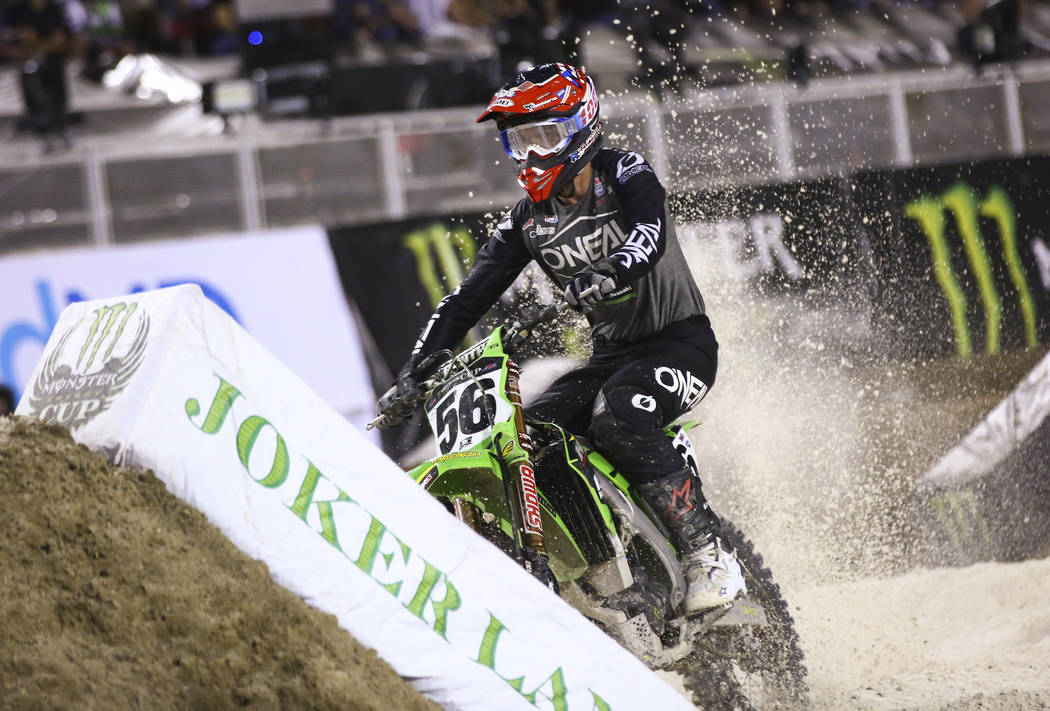 Justin Starling (56) rides in the joker lane during the second round of the Monster Energy Cup ...