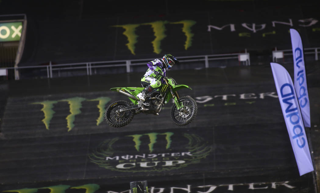 Eli Tomac (1) competes during the second round of the Monster Energy Cup Supercross main event ...