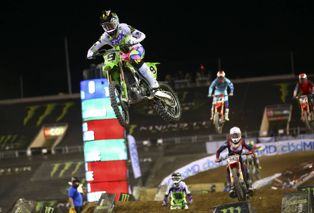 Adam Cianciarulo (9) leads the pack on his way to win the third main event and the overall Mons ...