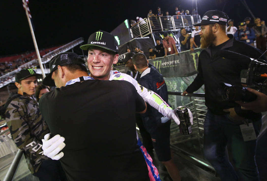 Adam Cianciarulo celebrates after the Monster Energy Cup Supercross race at Sam Boyd Stadium in ...
