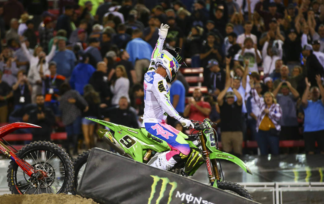 Adam Cianciarulo (9) celebrates his win in the third main event of the Monster Energy Cup Super ...