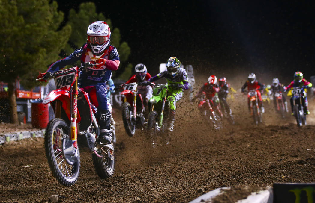 Tim Gajser (243) competes during the third main event of the Monster Energy Cup Supercross race ...