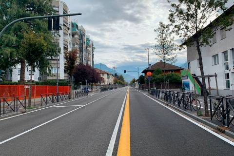 A view of a deserted road in the northern Italian city of Bolzano, Sunday, Oct. 20,2 019. Itali ...