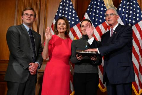 FILE - In this Jan. 3, 2019, file photo, House Speaker Nancy Pelosi of Calif., second from left ...