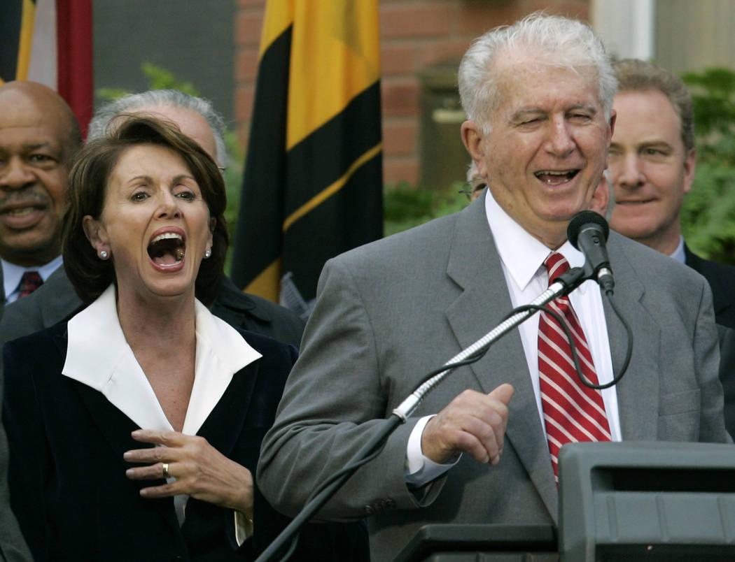 FILE - In this Jan. 5, 2007 file photo, Speaker of the House Nancy Pelosi, D-Calif., left, laug ...