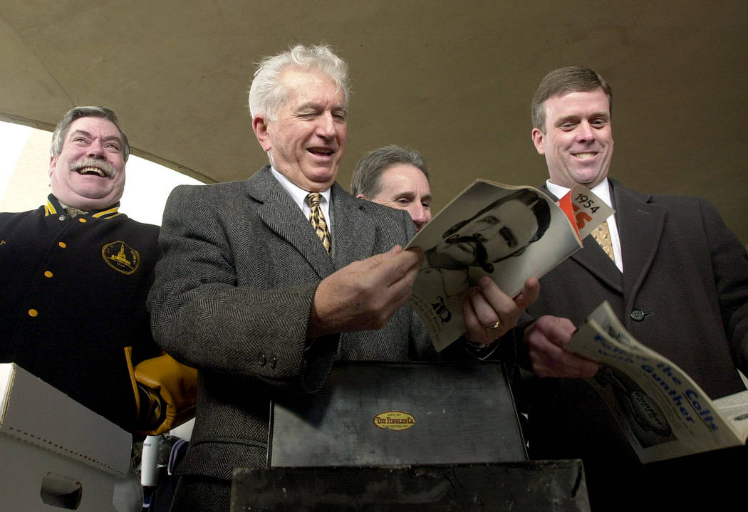 FILE - In this Jan. 17, 2002 file photo, former Baltimore city Mayor Thomas D'Alesandro III, ce ...