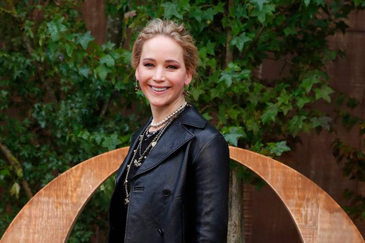 Actress Jennifer Lawrence smiles during a photocall before Dior's Ready To Wear Spring-Summer 2 ...
