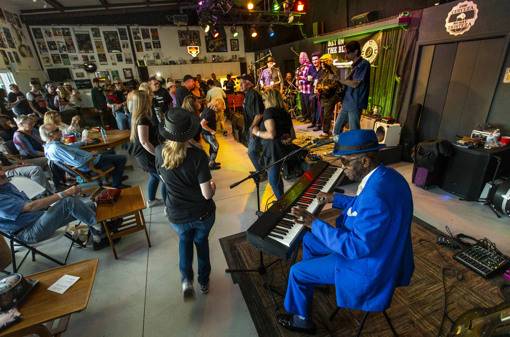 Legendary blues piano player and singer Leon Blue performs with others during the 2nd Annual Fa ...