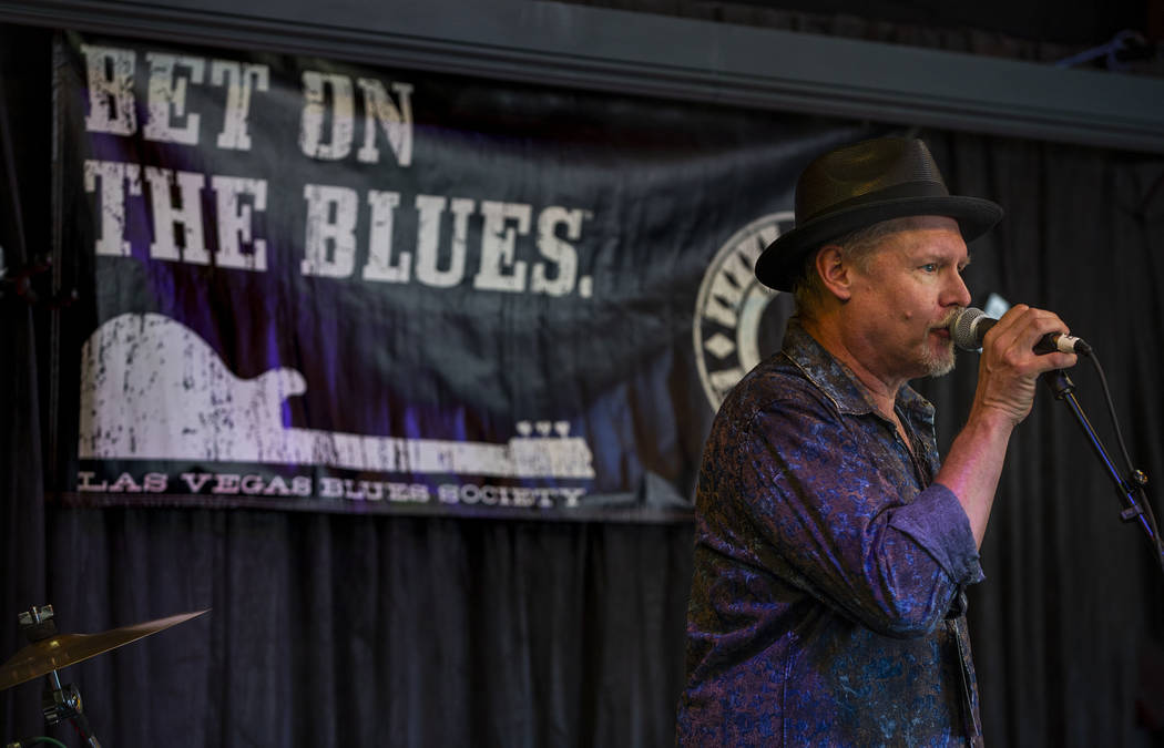 Las Vegas Blues Society President Jimmy Carpenter speaks to the crowd during the 2nd Annual Fal ...