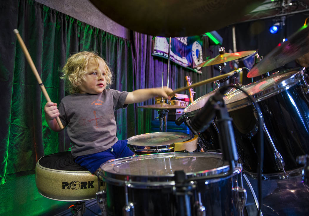 Wiley Jack, 1, plays the drums in between band sets during the 2nd Annual Fall into the Blues F ...