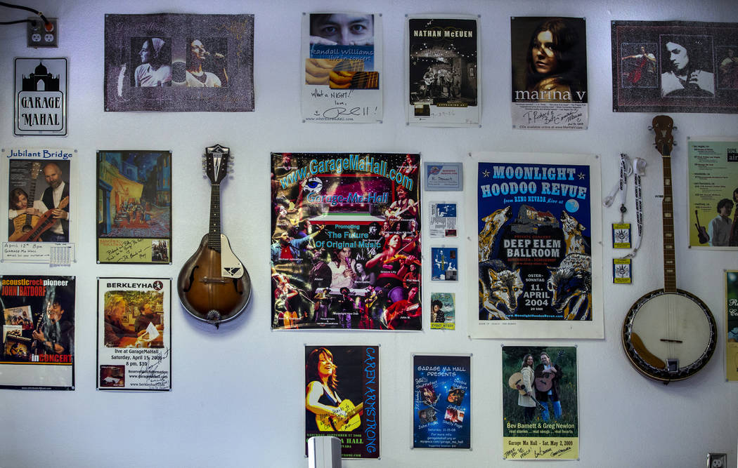 Posters and memorabilia hang in the Garage Mahal during the 2nd Annual Fall into the Blues Fest ...