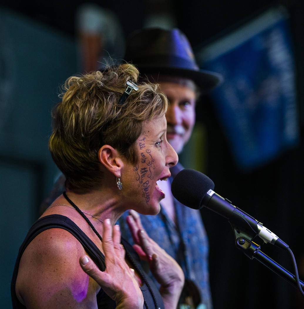 Las Vegas Blues Society Secretary Carrie Stowers thanks the crowd for attending and contributi ...