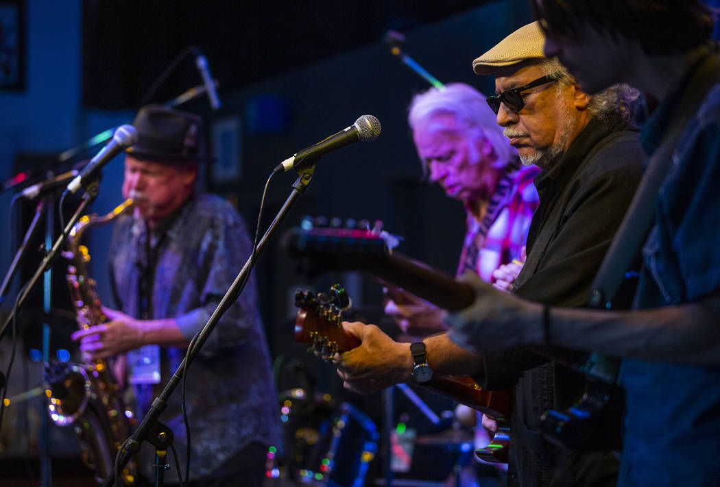 Blues Music Award Winner Bob Margolin, right, plays with others on stage during the 2nd Annual ...