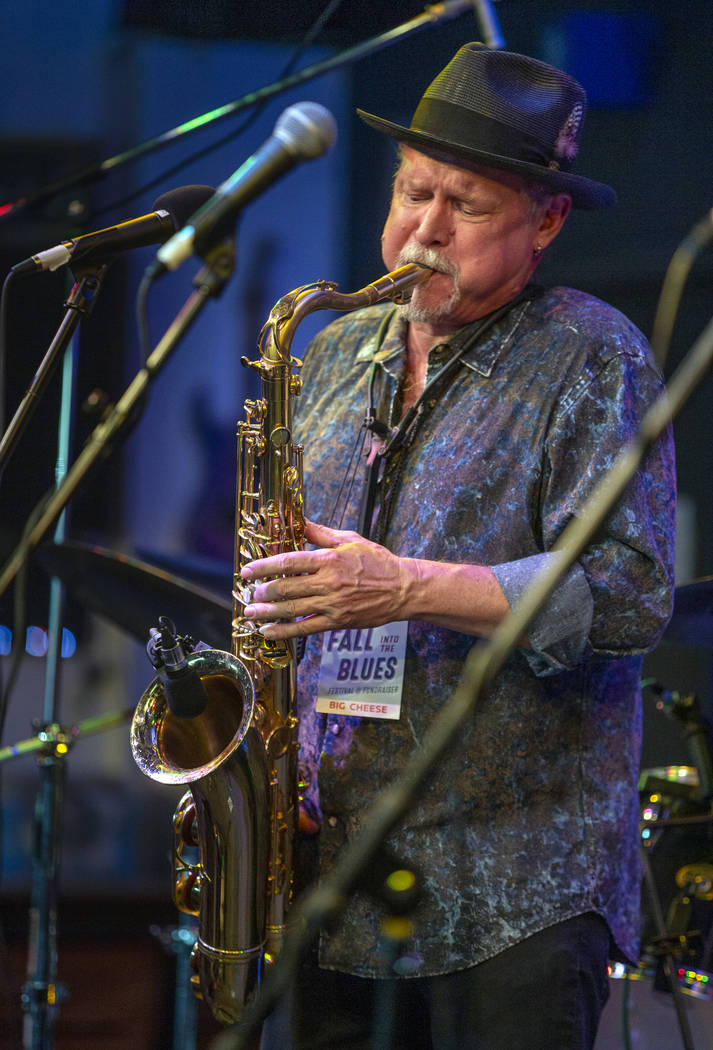 Las Vegas Blues Society President Jimmy Carpenter plays the sax with other musicians during the ...