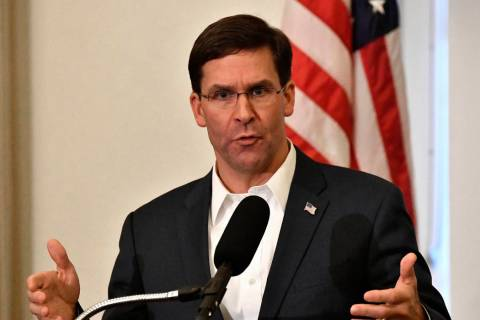 n a Friday, Oct. 4, 2019 file photo, Defense Secretary Mark Esper speaks to a gathering of sold ...