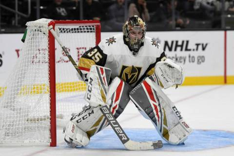 Vegas Golden Knights goalie Oscar Dansk, of Sweden, in action during a preseason NHL hockey gam ...