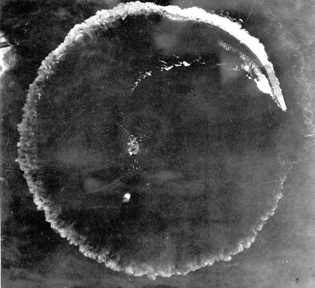 FILE - This June 1942 file photo shows an aerial photo of a Japanese carrier maneuvering in a c ...