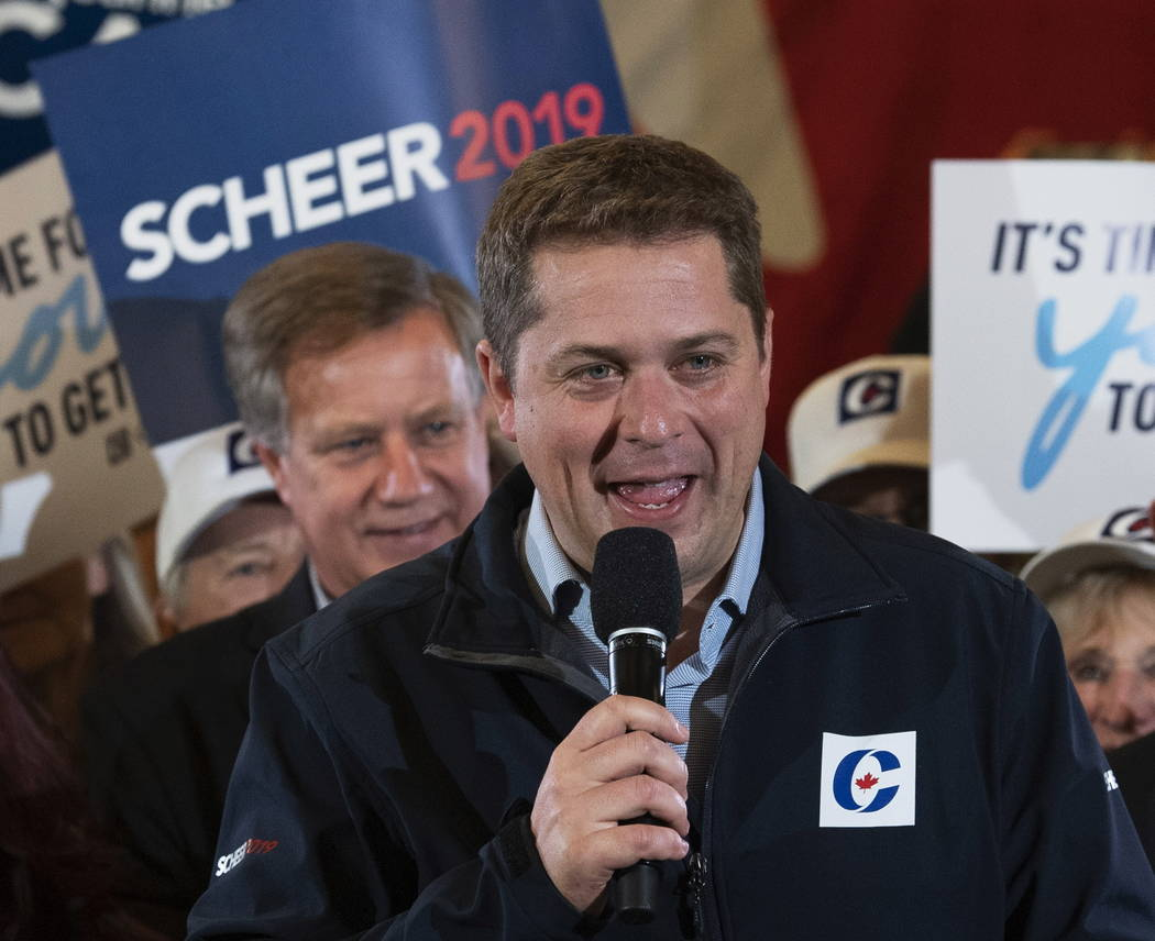 Conservative leader Andrew Scheer speaks during a rally in Winnipeg, Manitoba, Monday, Oct. 14, ...