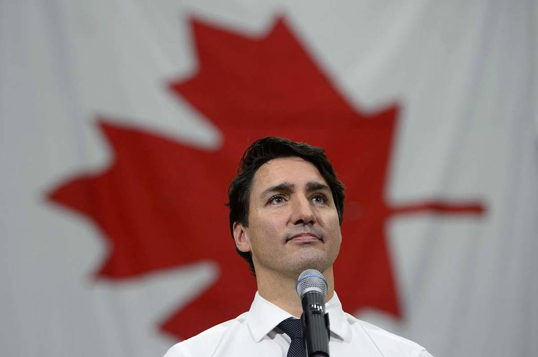 Liberal leader and Prime Minister Justin Trudeau makes a campaign stop at the Hamilton Fire Dep ...