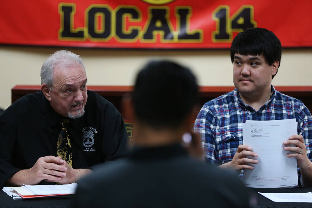 Larry Griffith, left, secretary and treasurer for Teamsters Local 14, and Brian Lee, acting exe ...