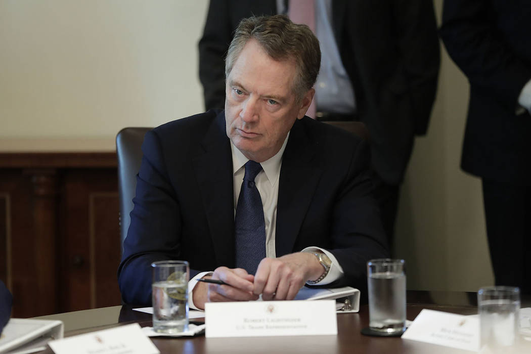 U.S. Trade Representative Robert Lighthizer listening to President Donald Trump during a Cabine ...